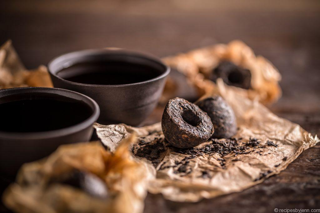 Chinese clay bowls of pu erh tea
